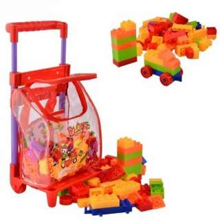 Kids Childrens Educational Toy 96Pcs Building Blocks with Trolley- Red