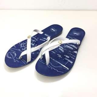 🚚 Melissa 香香鞋 巴西尺寸36(Mel 夏日海洋插畫夾腳拖鞋-深藍色)