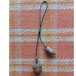 Bag charm with real acorn and wooden bead