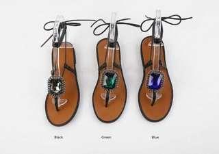 🚚 大寶石綁帶涼鞋