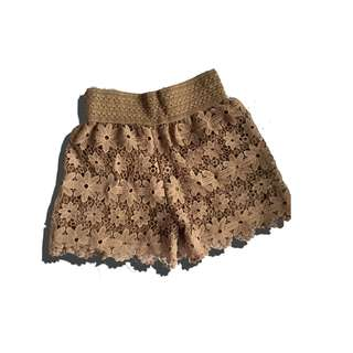 Brown Crochet shorts