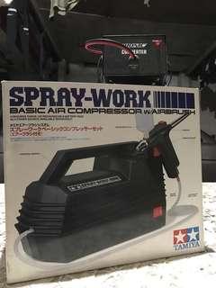 Tamiya Spray-work Basic Air Compressor with Airbrush