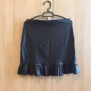 REPRICED! Mango Garterized Leather Skirt