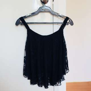 Black sleeveless top in lace details