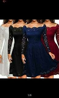 Off Shoulder Lace Formal Evening Party Long Sleeve Dress (Ships in 8-12days)