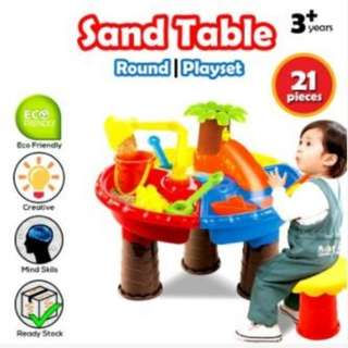 Realeos Kids Beach Toy Water Sand Round Table 21 PCS Mold Set