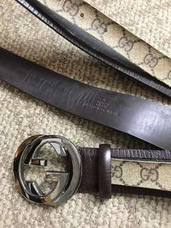 GUCCI leather Belt 正版真皮腰帶 (need repair 需要維修) 100% Authentic 意大利製造 🇮🇹 made in Italy