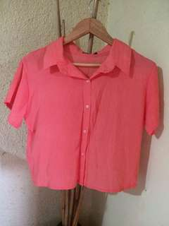 Pink Cropped Top Polo