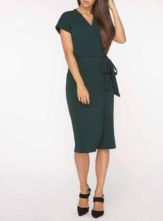 Dorothy Perkins dark green wrap around dress