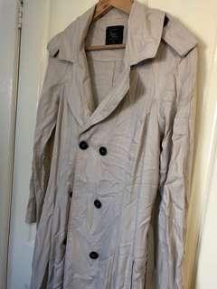 Beige trench coat duster jacket