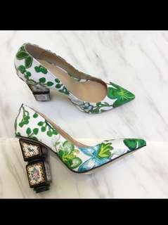 fashion print strange heel women pumps green embroider flower party shoes elegant ladies pointed toe high heels