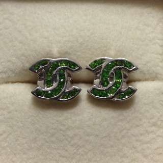 Russia Chrome Diopside Earrings in 925 Sterling Silver