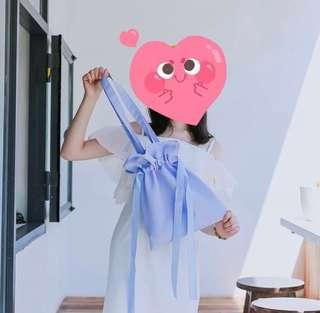 代購韓國🇰🇷紫藍/淡粉/淺灰/黑色 絹面索繩 tote bag