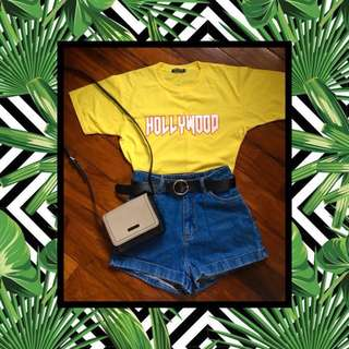 Thrift apparel yellow Hollywood shirt cropped