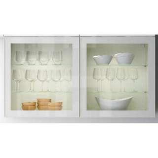 二手傢俬 IKEA 宜家 BESTÅ 貝達 White 白色 層架組合連玻璃門櫃 飾物櫃 (連掛牆軌) 9成新