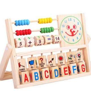Kids Childrens Educational Wooden Toy With Number and Alphabet Learning