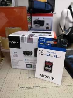 Brand New msia warranty Sony nex a5100 + 16-50mm lens with 4. Free gifts - Brown color