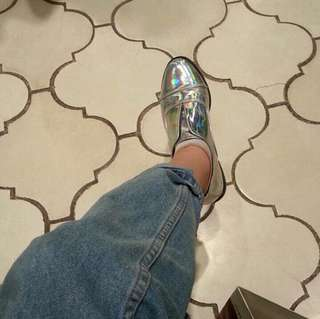 holographic silver shoes- worn 2x