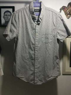 Baleno - Grey Patterned Polo Short Sleeve Button Down Shirt