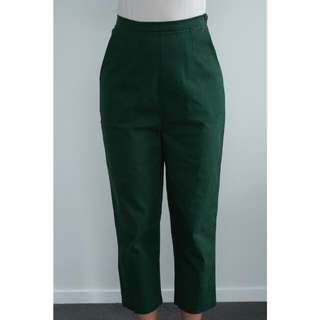 Green high-waisted pants