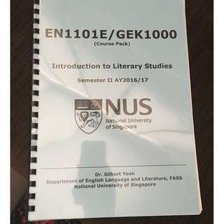 NUS EN1101E / GEK1000 Introduction to Literary Studies (coursepack, notes for open book exam, midterm test and essay)