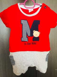 Miki Baby Red Jumpsuit Shirt