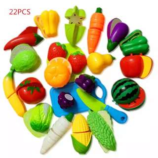 Kids toys 22 pcs Kitchen Fun Cutting Fruits and Vegetables Food Play Toy Set for kids kitchen set role playing props