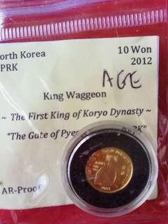 North Korea minor gold coin 50won,2003, wonder of the world