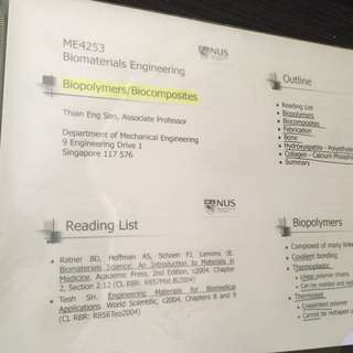 Notes for NUS ME4253 Biomaterials Engineering
