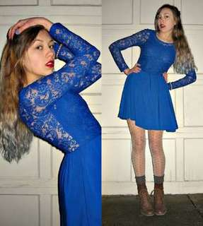 royal blue lacy dress