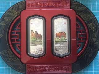 China Horse Lunar New Year Fine 999 Silver Ingot 20 gram ( 2pcs) Year 2014