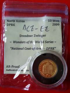 North Korea gold coin,10 won,2009  wonder of the world series