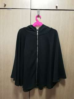 Black Poncho with hood and zipper