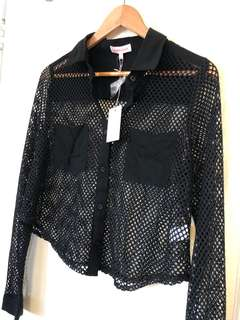 BRAND NEW BLACK MESH SHIRT