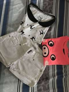 Terranova shorts, bershka crop top shirt, lulu guinness sleeveless