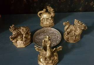 Sales: Four Divine Beasts of China Brass Decorarion