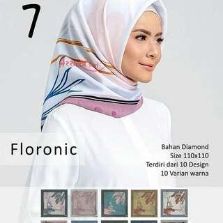 Grosir Jilbab Segi 4 Floronic Azzura design 7