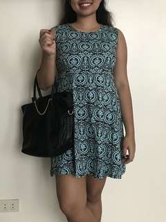 Blue and brown printed doll day dress