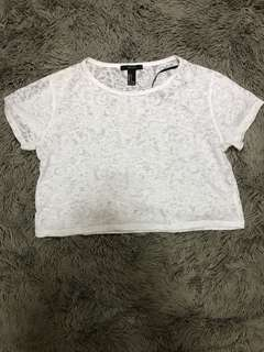 Forever 21 Boxy Cropped Top with Sheer Detailing
