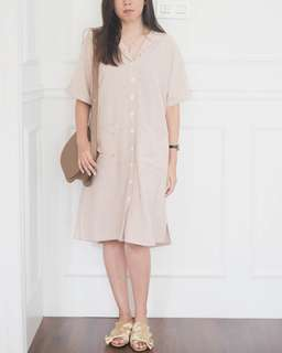 NEW - this is april verina button dress cream color | free tote bag