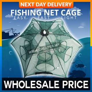 Automatic Fishing Net Cage Portable Nylon Fishing Mesh Net Fish Shrimp