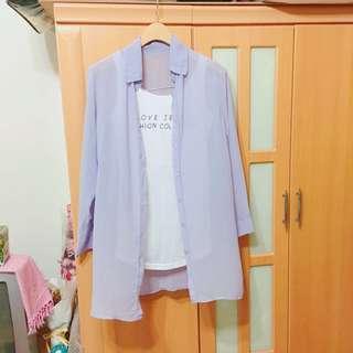 🚚 🦄紫光系襯衫+白色英文背心💜