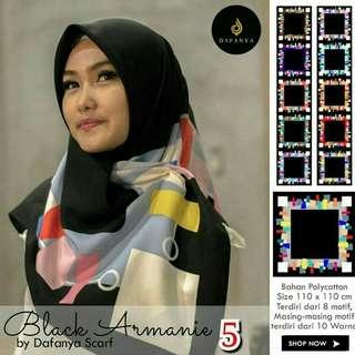 Grosir Jilbab Segi 4 Black Armanie Dafanya design 5