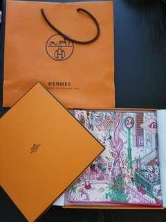Hermes Le Grand Prix du Faubourg  100% silk twill scarf (90 x 90 cm)