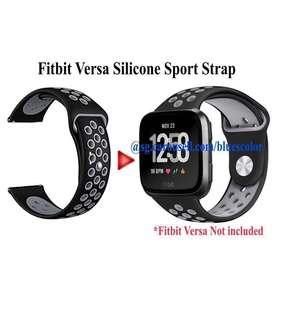 Fitbit Versa Silicone Sport Strap Replacement, Black/Gray