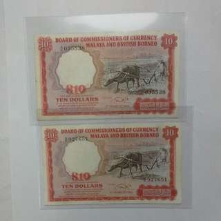 Malaya Buffalo $10 1961 $338 Each