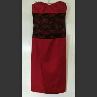 Portmans Red With Lace Strapless Dress 12