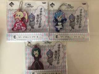 BNIP ichiban kuji Rezero keychains/earpiece wrap 3 stocks!