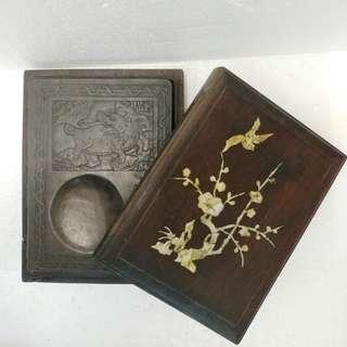 墨硯連貝殼木盒