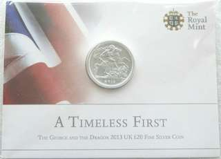 2013 St George and the Dragon £20 Pound Silver Coin Mint Pack